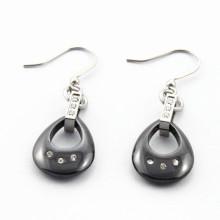 Acier inoxydable Cercle en céramique cerclé Boucles d'oreilles pour femmes