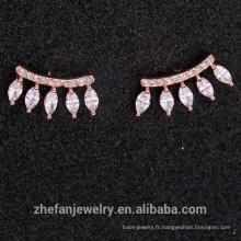 2018 nouveau design marquise zircon cristal pierre boucle d'oreille rose plaqué or E