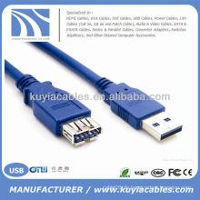 Neue blaue 1.5M Super Geschwindigkeit USB 3.0 Ein Mann zum weiblichen Verlängerungskabel, 1.5m