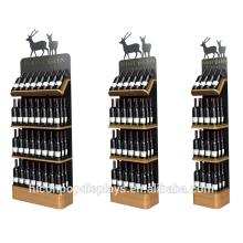 Grocery Store Wholesale 3 Tier Bamboo Wooden Tray Metal Red Wine Holder Rack Wood Supermarket shelf Gondola Shelving