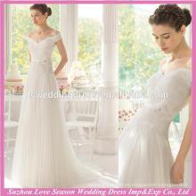 WD9114 nuevo famoso con el precio bajo blanco de la tapa del cordón del hombro 3D florece cintura acanaló la falda de Tulle Vestidos de una línea de la boda de Corea