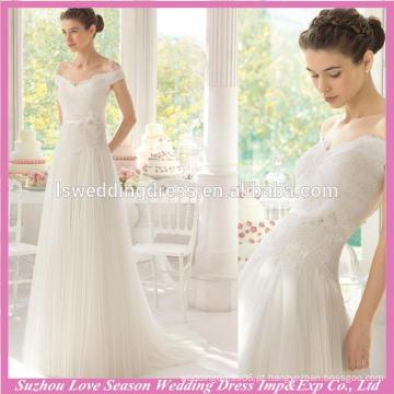 WD9114 novo famoso com baixo preço branco fora ombro cinto de enfeite 3D flores cintura falada de tua rucada A linha de vestidos de casamento coreia
