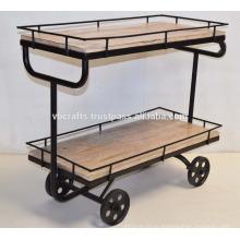Промышленный дизайн Сервировочная тележка Чугун колеса Мангового дерева извести покупателями