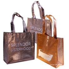 Wholesale Custom Printed Logo Metallic PLA Non Woven Bag for Shopping
