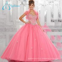 Rebordear vestidos de bola de cristal de dos piezas de tul vestido de quinceañera