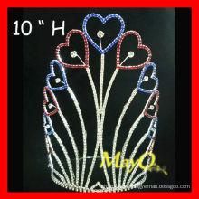 Оптовая серебряная позолота большой высокий сердечный патриотический конкурс короны