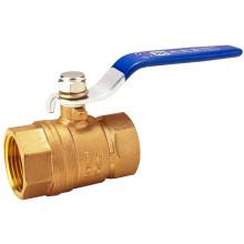 NSF Blue Handle Cromado Válvula de bola de latón forjado
