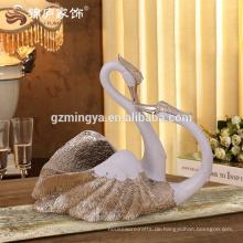 2016 neue arabische Design Liebe romantische Harz Tierfiguren Paar Schwan Statue Handgemalte Gild