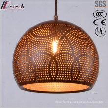 Bronze Round Metal Hollow Pendant Lighting with Dining Room