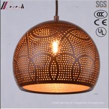 Bronze redondo metal oco pingente de iluminação com sala de jantar