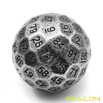 Bescon Solid Metal 100 Sided Dice, Game Dice D100,Giant Polyhedral Metal 100 Sides Dice 50MM in Diameter (1.97in),Ancient Silver