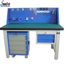 Modern garage metal frame wooden work bench