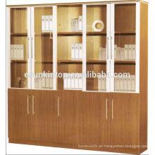 Estante de libro de oficina alta, cinco puertas enormes caja de madera con puertas de vidrio