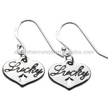 Drop pendants earring silver plated stainless steel hypoallergenic fashion lettering women jewellery