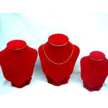 Exhibición roja al por mayor del collar de la joyería de la tela de la fábrica de China (NS-WRV-ABC)