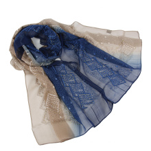 Two tone color emboidery scarf silk scarf with Sequins