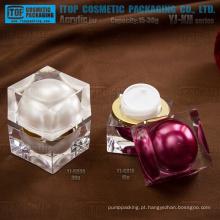 Camadas de cristal duplo devenda luxo caro custo efetivo frasco quadrado plástico embalagens de cosméticos creme
