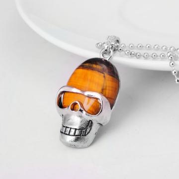 Tiger eye Skull Gemstone Pendant Necklace with Silver chain