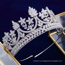Novo design de luxo requintado AAAZircon Cubic Zirconia Queen Crown tiaras de casamento