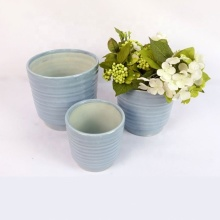 colored glazed ceramic planter pots 3 pcs set