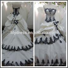 Кружева милая бальное платье реальные изображения длиной до пола сшитое длинные вечерние BW281wedding свадебные платья черный и белый