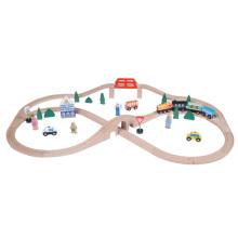 55pcs Kids Wooden Railway Train Bridge Set
