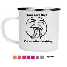 Taza modificada para requisitos particulares del esmalte que acampa de la impresión del logotipo de la taza