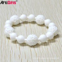 Customized Handcrafted fashion white silicone beaded bracelet for girl
