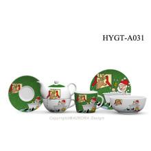 Christmas Decoration FDA Approved 3PCS Porcelain Round Shape Dinnerware Set With Christmas Design