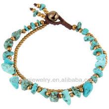 Pierre turquoise naturelle avec perles en laiton Bracelet artisanal Cravates SB-0027