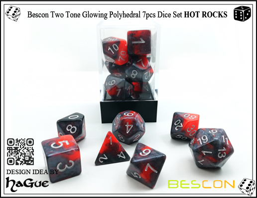 Bescon Two Tone Glowing Polyhedral 7pcs Dice Set HOT ROCKS-3