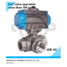 AISI316L Pneumatic Actuated 3-Way Ball Valve 11/4 Inch Pn63