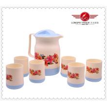 6 Tassen Geschenkbox Verpackung Kunststoff Wasser Pitcher Set (lfr12026)