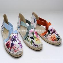 2015 direto da fábrica Atacado estilo novo de alta qualidade de impressão de juta sapatos sapatos menina espadrille