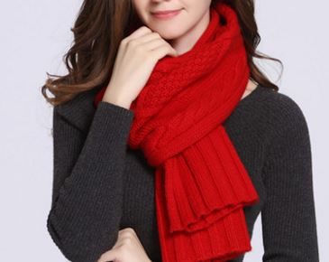 90% Wol 10% Cashmere Knitted Scarf