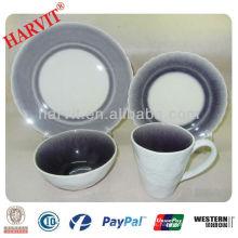 Gres de cerámica en relieve flor y púrpura crackle glaze dinner set