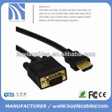 Позолоченный кабель VGA TO HDMI между мужчинами Черный