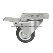 Stainless Steel Polyurethane Furniture Castors, Screw with Total Brake