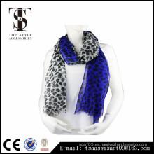 Bufanda de impresión animal bufanda azul de poliéster de impresión de leopardo