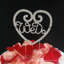 We Do Heart Shape Rhinestone Wedding Cake Topper for Cake Decoration