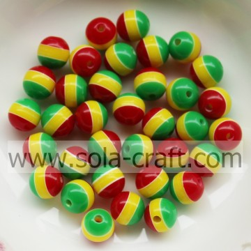 6MM 8MM Red Yellow Green Striped Round Resin Beads