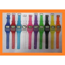 reloj colorido del regalo promocional colorido del silicón con el caculator