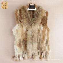 Горячие продажи без рукавов реальных женщин меховой жилет короткий стиль природного кролика и енота жилет