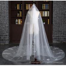 Nueva marca catedral longitud 3 metros velo de marfil de la boda con pleno Appliques