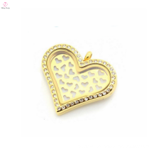 wholesale stainless gold steel sweet heart plates charms for floating locket