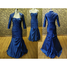 Cocktail dress for fat women Evening Dress Mermaid Long Sleeve Spaghetti Straps Prom Dress with beaded jacket Charming Dark blue