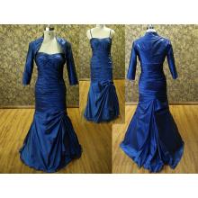 Коктейльное платье для полных женщин вечернее платье Русалка с длинным рукавом бретельках платье с бисером куртка очаровательная темно-синий