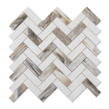 Color Stained Glass Herringbone Tile Mosaic Patterns for Wall
