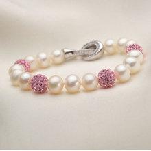 Perles cultivées naturelles d'eau douce de 7-8mm avec bijoux en cristal de cristaux (E150030)