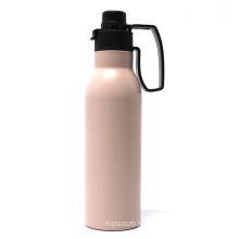 Custom stainless steel water flask vacuum insulated metal with handle cap